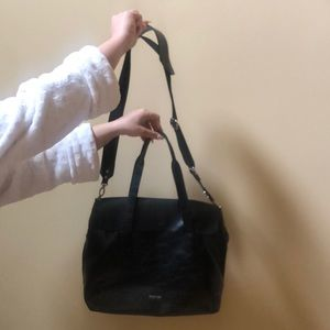 Real leather Black Shoulder/Hand Bag